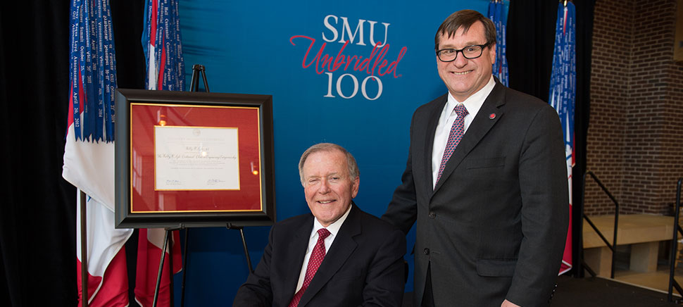 Dr. Bobby Lyle and Dr. Duncan MacFarlane, SMU's first Bobby B. Lyle Centennial Chair in Engineering Entrepreneurship. Photo by Hillsman S. Jackson/SMU.