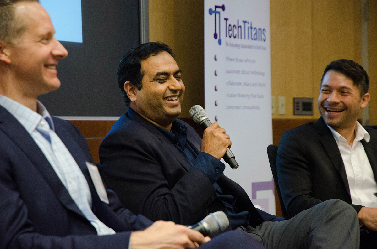 Ray Bajaj, a speaker at UT Dallas Tech Titans, jokes about building a tech mother who will know all the answers. Photo by Hannah Ridings.