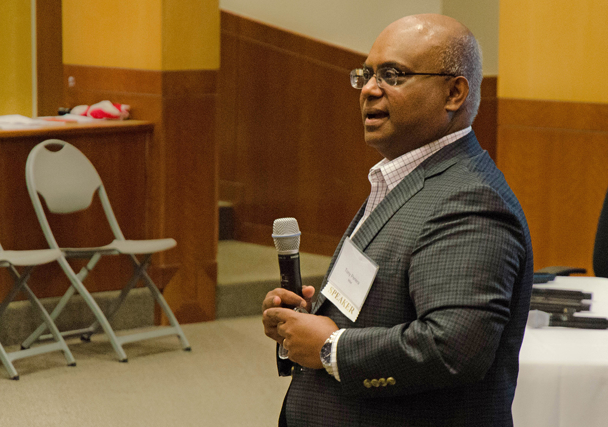 Ricardo Angel, managing director at GE Ventures speaks at Tech Titans Reverse Pitch Event. Photo by Hannah Ridings.