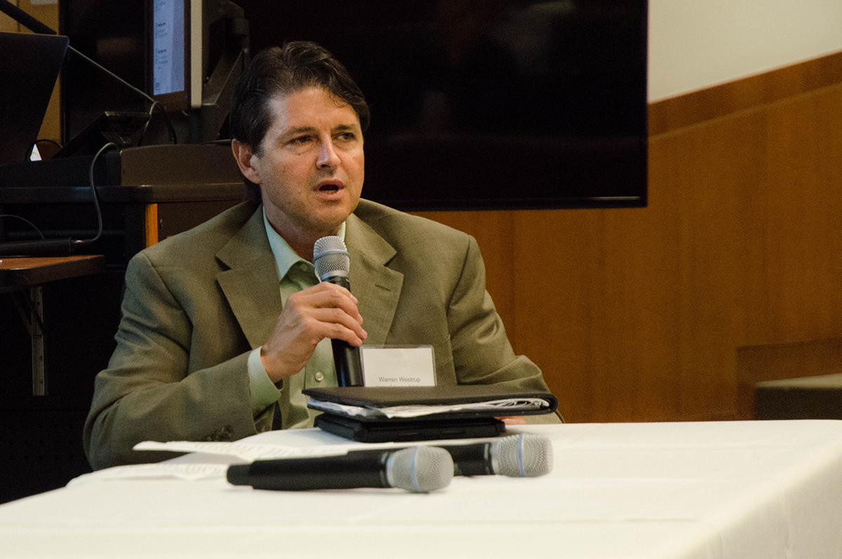 Warren Westrup speaks about Dallas startups at the Tech Titans Event hosted by UT Dallas. Photo by Hannah Ridings.