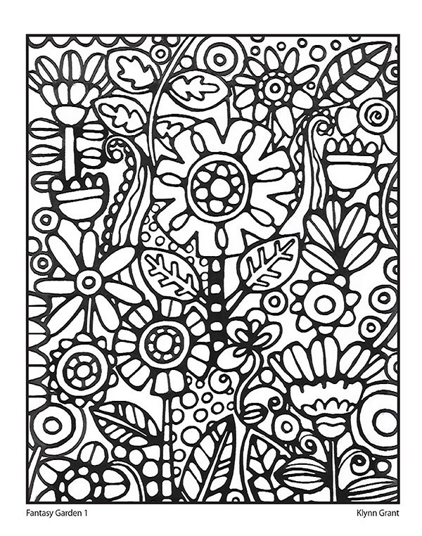 Print out a page to color at home. Design by K'Lynn Grant.