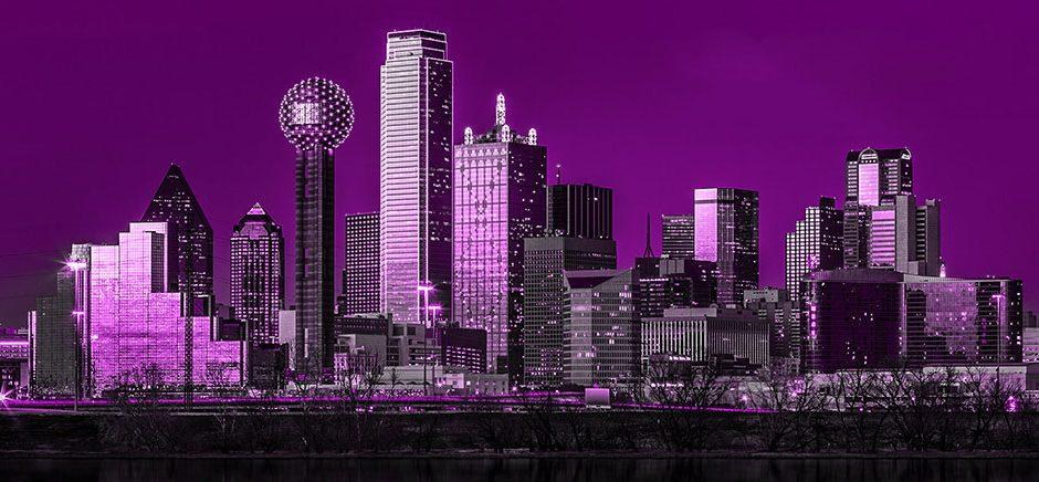 purple dallas skyline