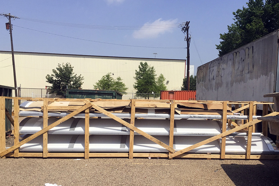 Skylights ready for installation at 1808 Good Latimer.