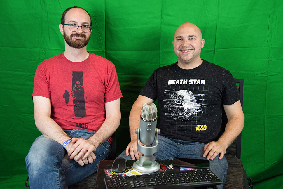 Patrick Swinford (right), expletive editor of Plano-based gaming media outlet TWIOCH, with guest host Chris White. (Photo by Michael Samples.)