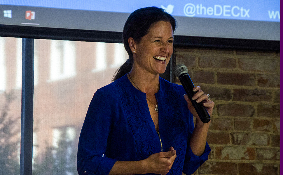 Gabriella Draney Zielke talked about the past, present, and future of the Dallas-Fort Worth startup scene at the Plugged event. [ The Dallas Entrepreneur Center Plugged Event | Photo by Saltbox Film Co.