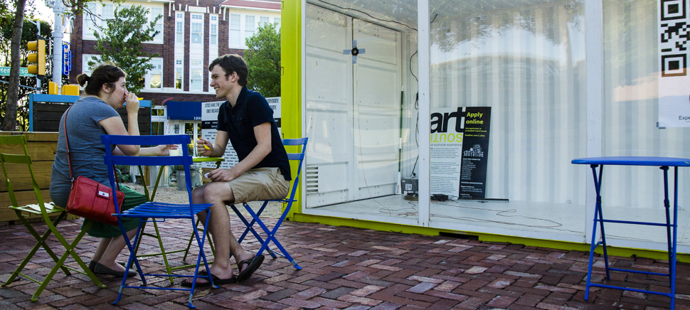 A couple enjoys the Micro Park on the corner of Magnolia and Henderson in Fort Worth, Texas. [Photo: Hannah Ridings]