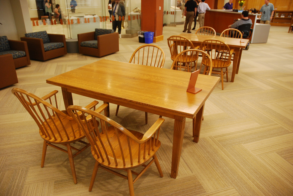 Tables and chairs from the 1901 Carnegie Library in Dallas get new life at the renovated Dallas History & Archives. Photo by Lance Murray