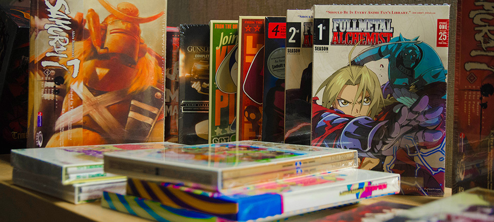 Collectables and memorabilia fill every shelf at the Funimation Frisco office.  [Photo: Hannah Ridings]