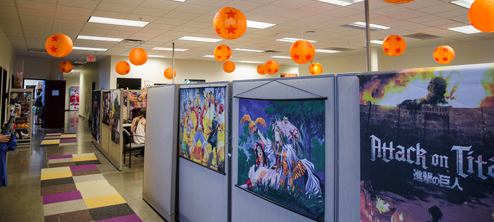 The Funimation office in Frisco is decorated with Dragon Ball Z lanterns and posters. [Photo: Hannah Ridings]