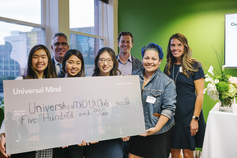 UM leadership presented UTD UX Club with a donation. [ Photo via Universal Mind ]