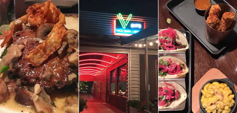 1. Vegan Salisbury Steak over mashed potatoes and grilled vegetables with fried onion ring on top. [ Photo: Zak Shelton] 2. V-Eats Modern Vegan neon sign in former Sugar Skull Cafe spot in Trinity Groves. 3. V-Eats Appetizers: Brisket Tacos, Thai Tofu Crisps, and Mac and Cheese.