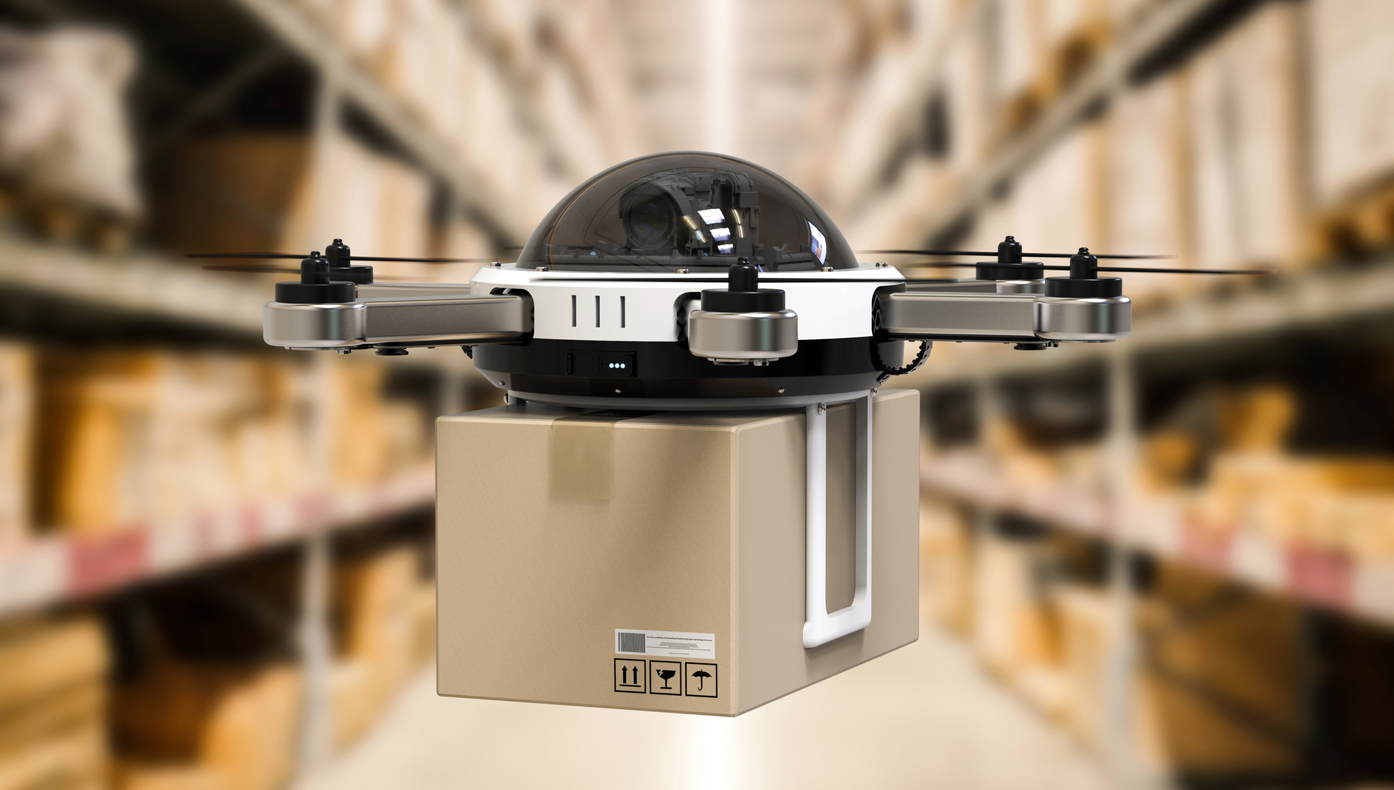 3d rendering delivery drone in warehouse