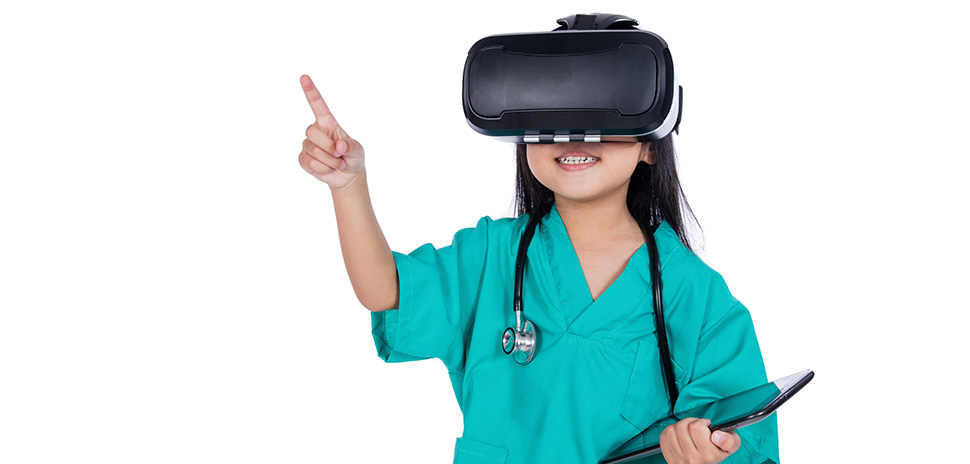 Asian Little Chinese Girl playing doctor with tablet and VR goggles in isolated white background.