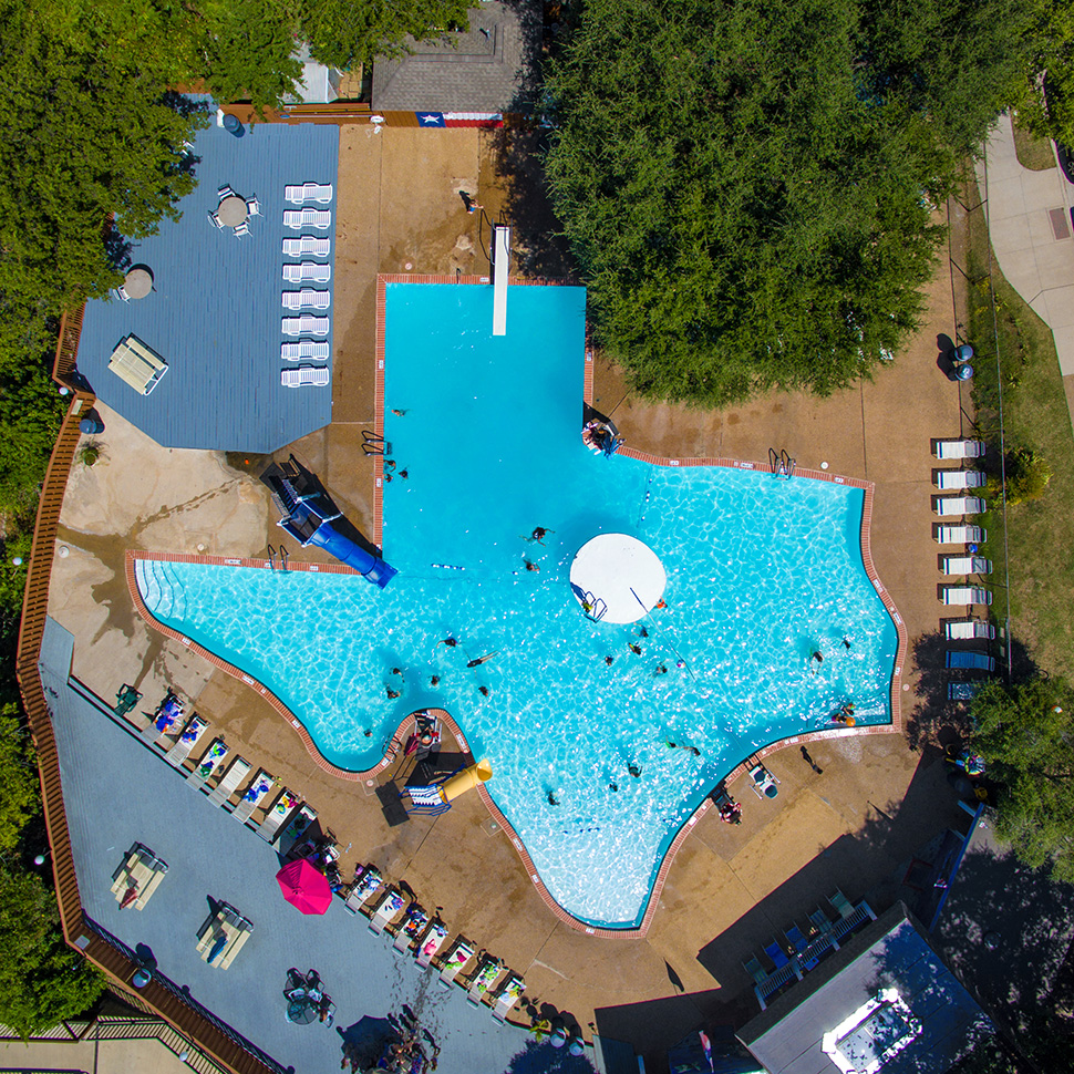 Texas-shaped swimming pool in Plano, Texas