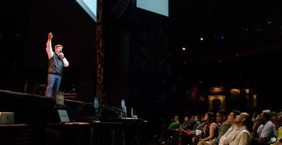 Justin White, CEO of start up company Selery Fulfillment, pitches his business plan at the House of Blues Throw Down Event in 2016.