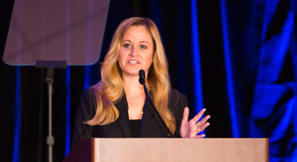 Emily Vacher, director of trust and safety at Facebook, was the keynote speaker at the Crimes Against Children Conference Monday morning at the Sheraton Hotel in downtown Dallas. [Photo: Chase Mardis]