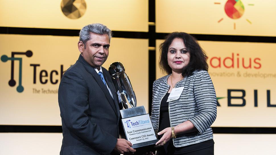 Santosh Anoo, Partner, Media and Telecom Practice, Deloitte and CIO Award winner, Suja Chandrasekaran, CIO, Kimberly-Clark Corporation [Photo: Courtesy of Tech Titans]