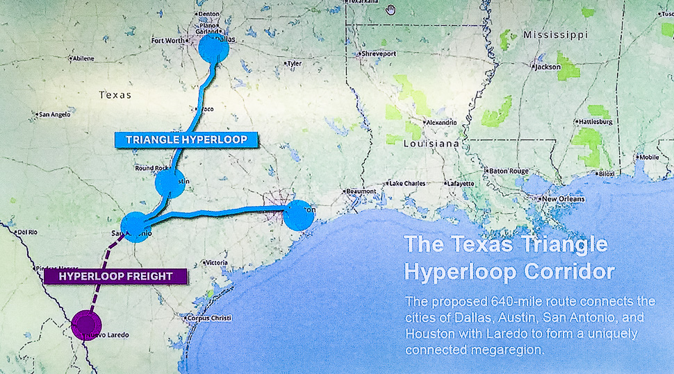 The Texas Triangle Hyperloop Corridor: The proposed 640-mile route connect the cities of Dallas, Austin, San Antonio, and Houston with Laredo to form a uniquely connection megaregion, said Steven Huong.