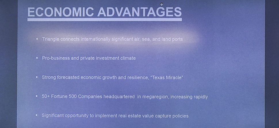 "Steven Huong talked about the economic advantages of the ""Texas Triangle"" that could connect internationally significant air, sea, and inland ports."