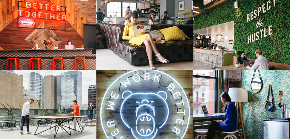 Clockwise from left: WeWork unique coworking spaces in Seattle, DC, LA, Varsovia (Mexico), Boston, and Soho.