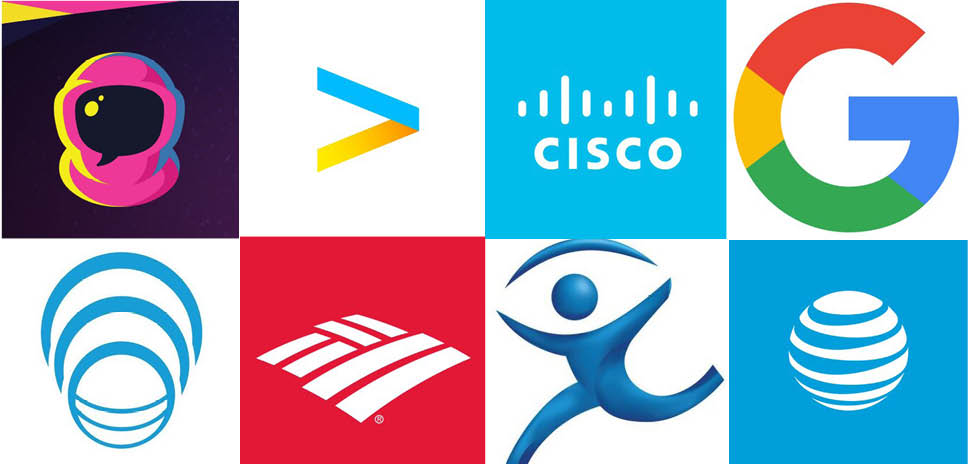 Clockwise from upper left: Conversable, Accenture Global Services, Cisco Technology, Google Technology Holdings, ATT Intellectual Property, Imagine Communications, Bank of America, and Genband US secured patents this week.