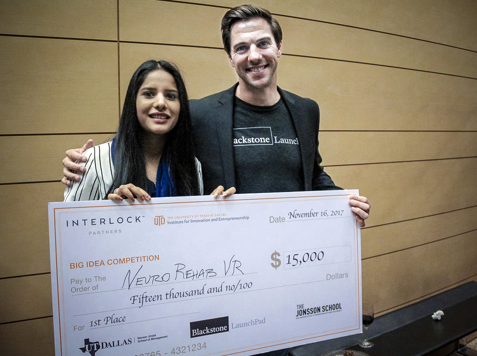 Neuro Rehab VR's Veena Somareddy with Blackstone Launchpad's Bryan Chambers