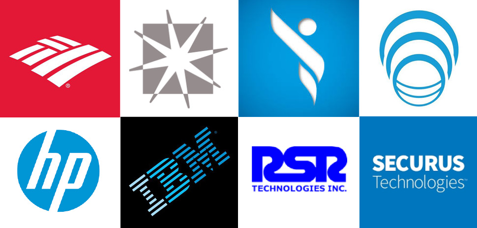 Clockwise from upper right: Bank of America, Enseo, EndoStim, Genband, RSR Technologies, Securus, Technologies, IBM, and Hewlitt Packard.