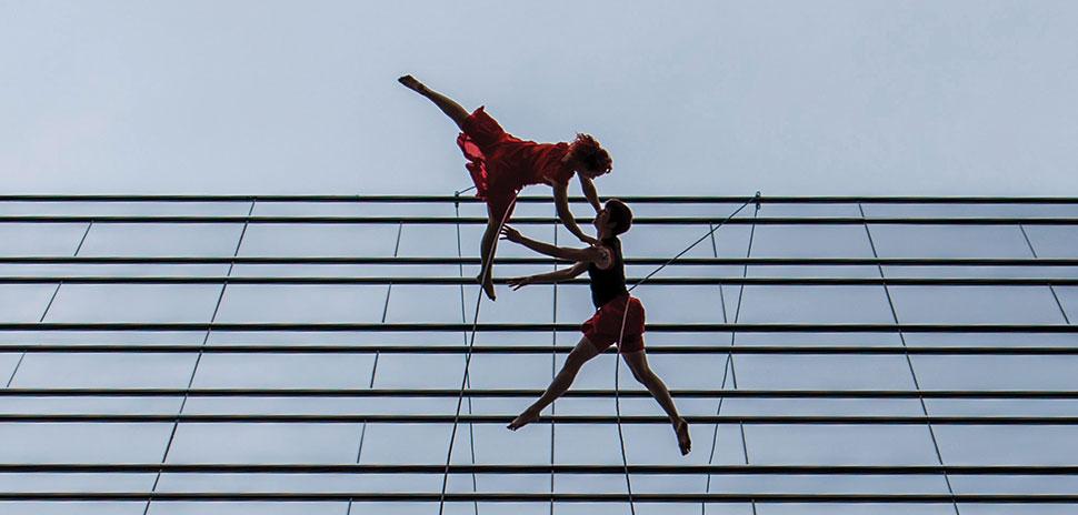 Bandaloop performing at KPMG Plaza at Hall Arts. [Photo: Michael Samples]