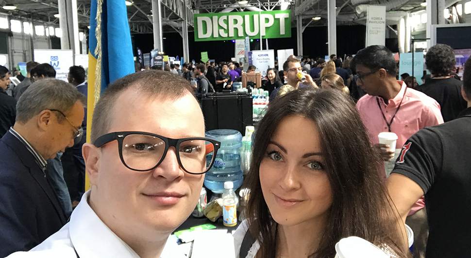 CruiseBe's Marina and Alex Shumaiev at TechCrunch Disrupt.