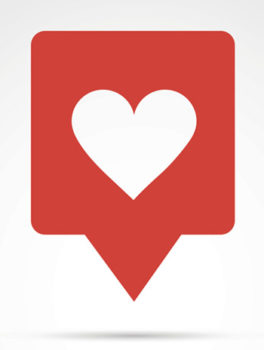 Vector illustration - heart, like social button with red heart.