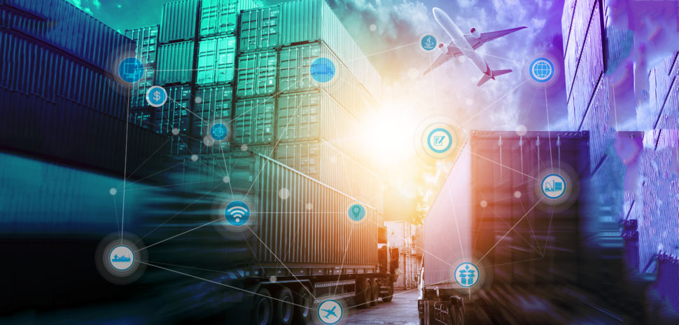 Global logistics network concept and wireless communication network, abstract image visual, internet of things concept..