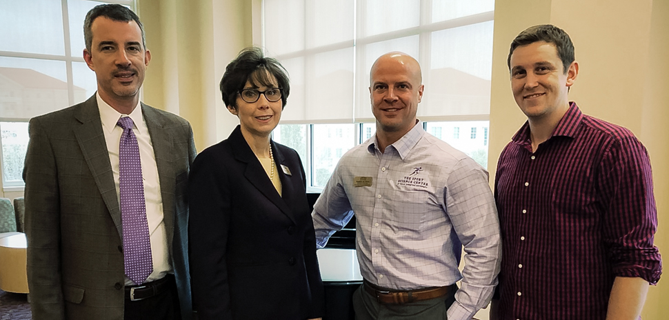 Alem Boukadoum (CEO, Sway Medical), Dr. Susan Weeks (Dean and Executive Director, Health Innovation Institute at TCU), Dr. Jonathan Oliver (Director, TCU Sport Science Center), and Chase Curtiss