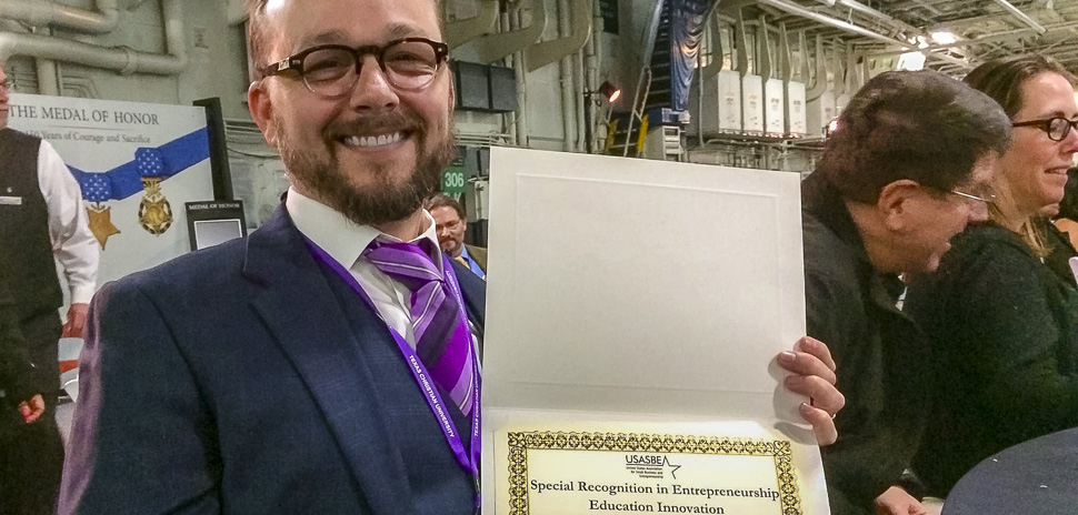 SMU professor Jim Hart holds United States Association for Small Business and Entrepreneurship award