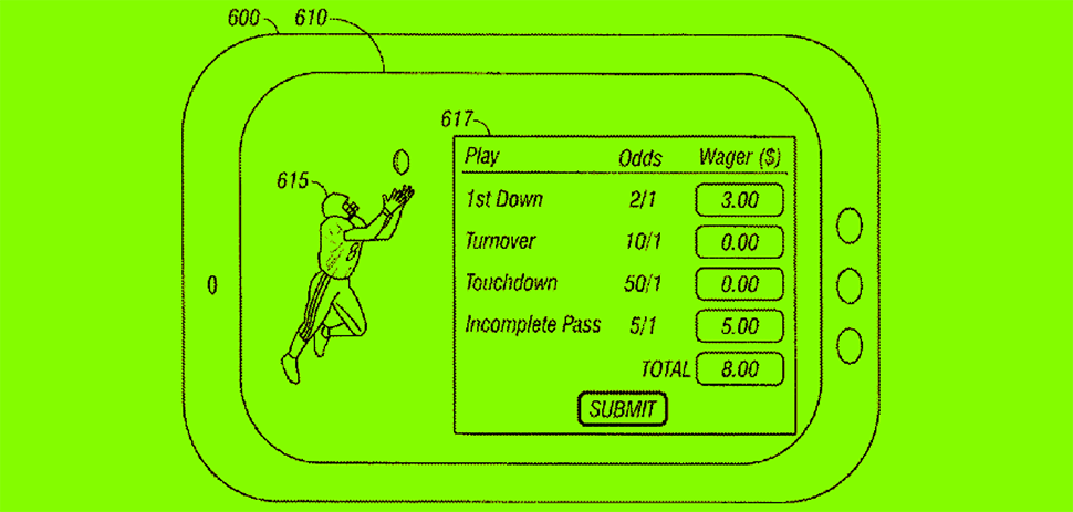 An illustration from Micro-Gaming Ventures' patent No. 9978218 depicts a method and system for micro-betting. The wager(s) can be managed and controlled remote from electronically placing the micro-bet(s) during a round of micro-betting, according to the patent documents. [Via USPTO]