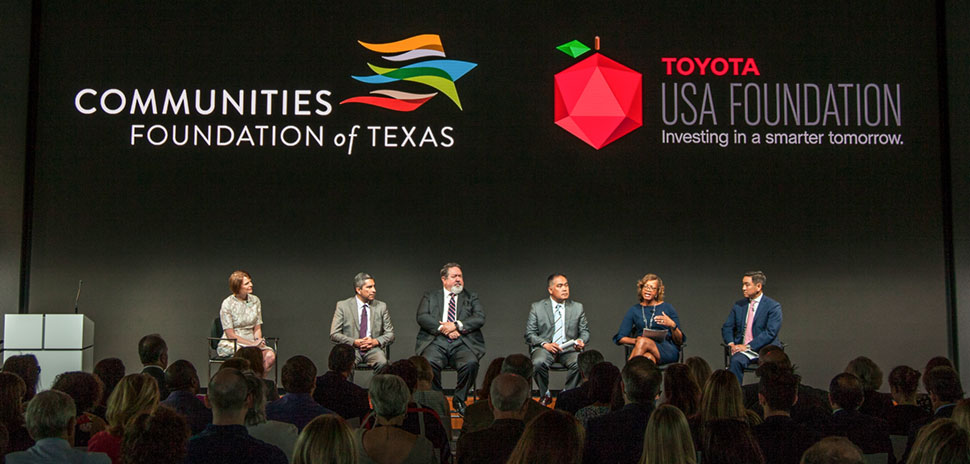 STEM Community leaders discuss ways to better prepare students to fill STEM-related jobs in a panel hosted by Communities Foundation of Texas and the Toyota USA Foundation. [Photo: Kim Leeson]