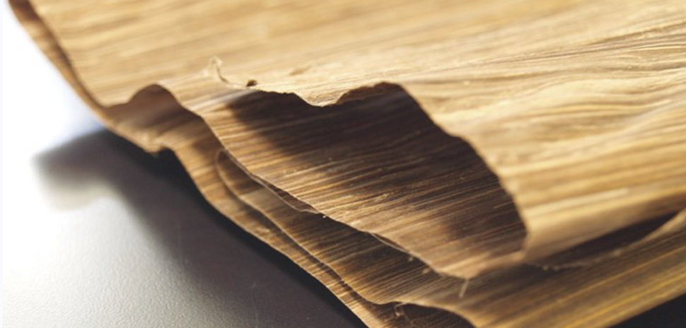 FIBandCO's new Green Blade wood-like veneer is made from byproducts of banana plant harvesting. [Photo: Fibandco]