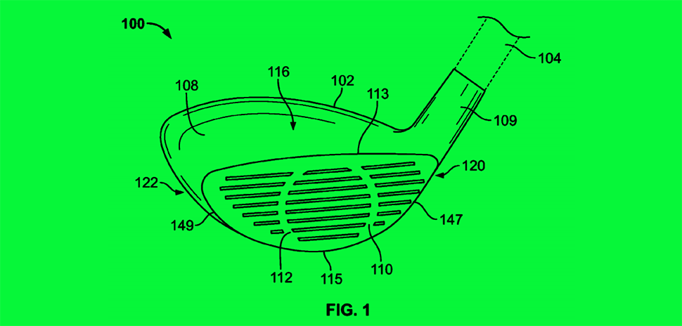 An illustration from Nike's patent No. 9999812 shows a golf club head with body features that are influenced by an impact. [Illustration: USPTO]