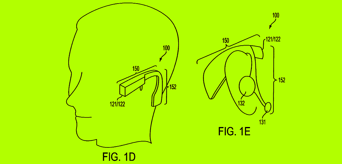 "An illustration from Toyota's patent No. 10024667 that demonstrates a wearable ""intelligent earpiece"" that can recognize objects to give social and environmental awareness to the user. The earpiece includes one camera, GPS and a processor connected to the inertial measurement unit (IMU)."