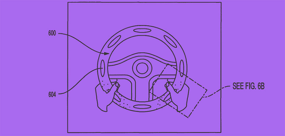 An illustration (fig. 6A) from Toyota's patent No. 10011222 demonstrating a system including a steering wheel-shaped shell with two layers that illuminates LED lights when force is applied.