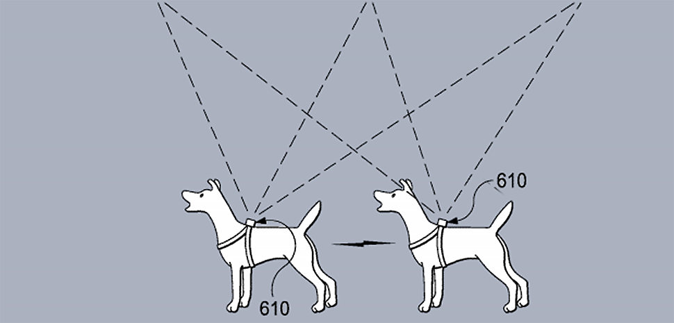 Botsitter's patent #10049278 is system for remote care of an animal includes a robotic animal caregiver. Detail from Fig. 17 shows a smart collar that can determine geolocation and relay behavior information of an animal. [Illustration: USPTO, Patent 10049278]