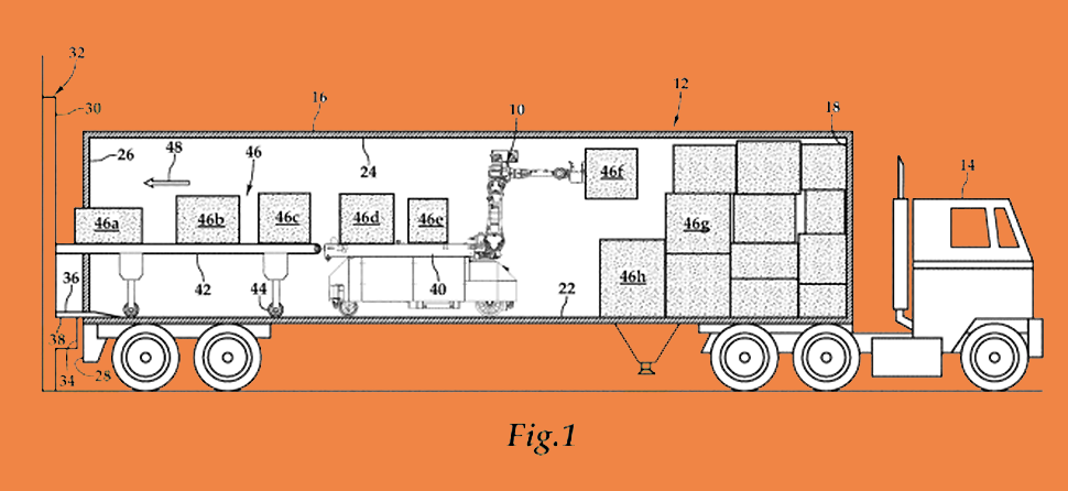 "An illustration from Daifuku's patent No. 10035667 that demonstrates an industrial robot that will automatically unload products, such as boxes or cases, from trucks. The robot will selectively remove boxes with a ""suction cup-based gripper arm"" and place the product on a ""powered transportation path."""