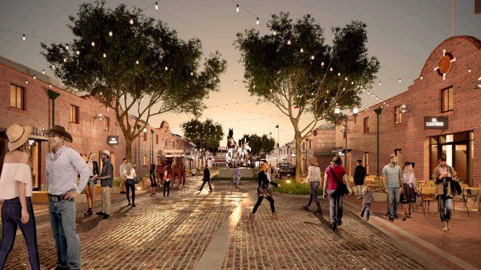 Rendering of the Horse and Mule Barns on Mule Alley in the rejuvenation of the iconic Fort Worth Stockyards [Courtesy of JLL]