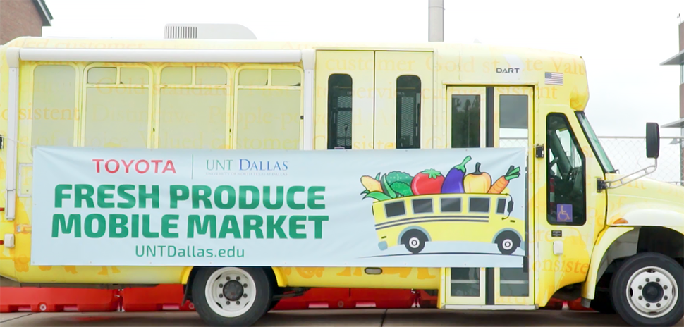 UNT Dallas Fresh Produce Mobile Market UNT Dallas, Toyota, DART Launch Mobility Initiative to Combat Food Deserts in Southern Dallas The farmer's market on wheels will sell locally sourced produce