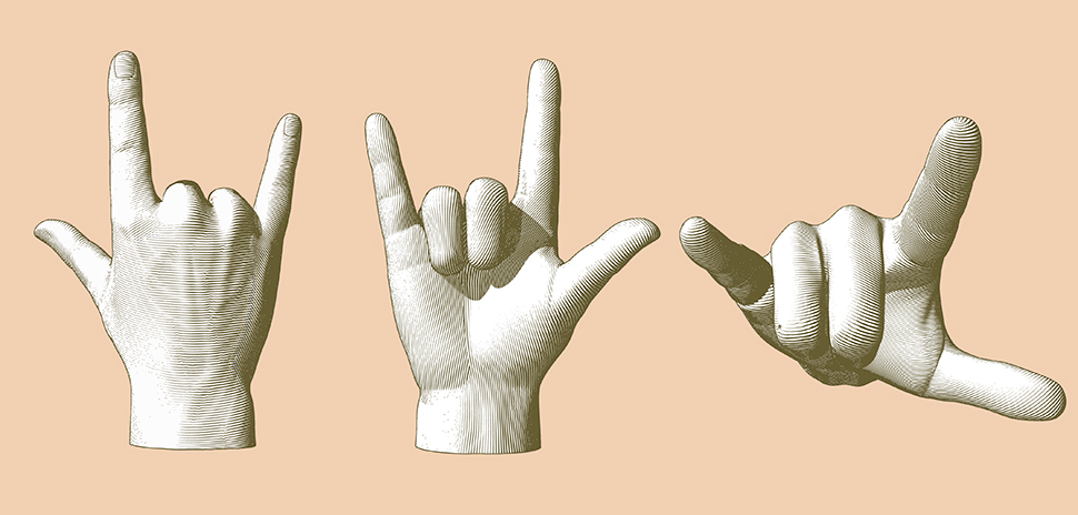 "KinTrans Sign Language Translation Tech: Stock image of a hand sign pose ""I Love You."""