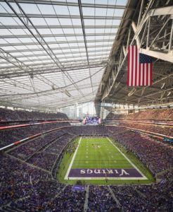 The U.S. Bank Stadium had to be built to withstand the brutal weather of Minneapolis' climate. The translucent ETFE roof was designed for that, while flooding the interior with natural daylight.
