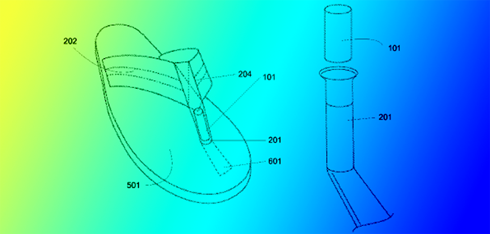 Dallas flip-flop maker Hari Mari has a new patent for footwear with an enhanced toe post. [DI composite. Illustration source: USPTO.]