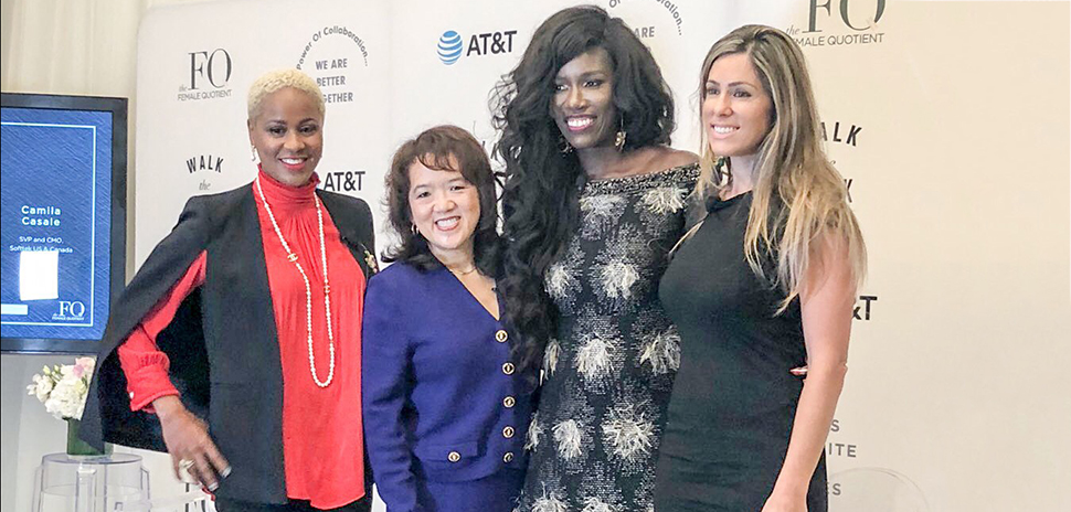 From left, moderator LaKendra Davis, AVP, Sales, AT&T Business with panelists Anne Chow, President, National Business, AT&T Business; Bozoma Saint John, CMO, Endeavor; and Camila Casale, SVP & CMO, Softtek US & Canada.