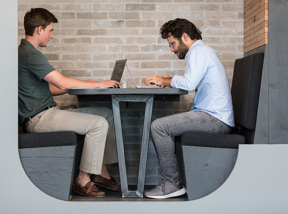 Founder Nick Clark (right) at Common Desk Granite Park.