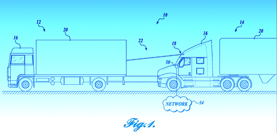 "Platooning trucks create ""road trains"" where two or more trucks follow each other closely. Paccar's platooning light fence system may communicate to passenger vehicles that trucks are traveling as a team to discourage cut-ins or cut-offs. [Illustration: Fig. 1, Patent No. 10220768 via USPTO. Background: Dallas Innovates.]"