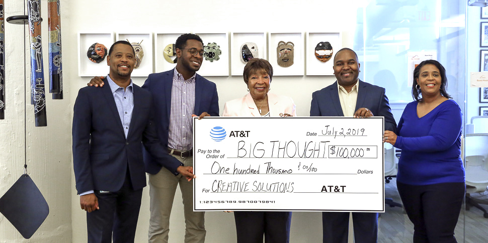 From left: Roger Taylor, manager of probation services for the Dallas County Juvenile Services Department; Byron Sanders, Big Thought President and CEO; U.S. Rep. Eddie Bernice Johnson, (D)-Dallas; and Ty Bledsoe, assistant vice president for external affairs at AT&T; Erin Offord, senior director of programs at Big Thought. [Photo: Rachel Walters]